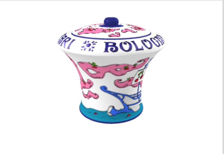 Amarena Fabbri vaso con disegno di Luca Noce